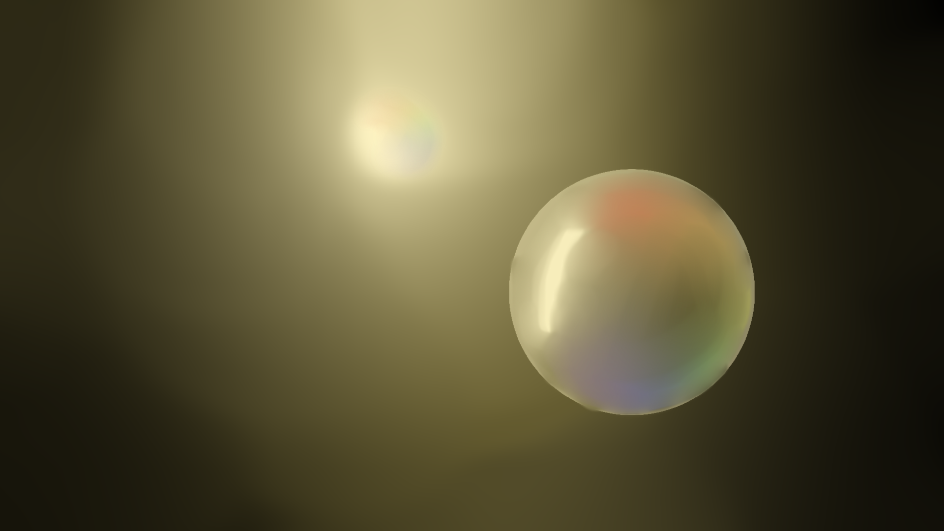 bubble in front of a light