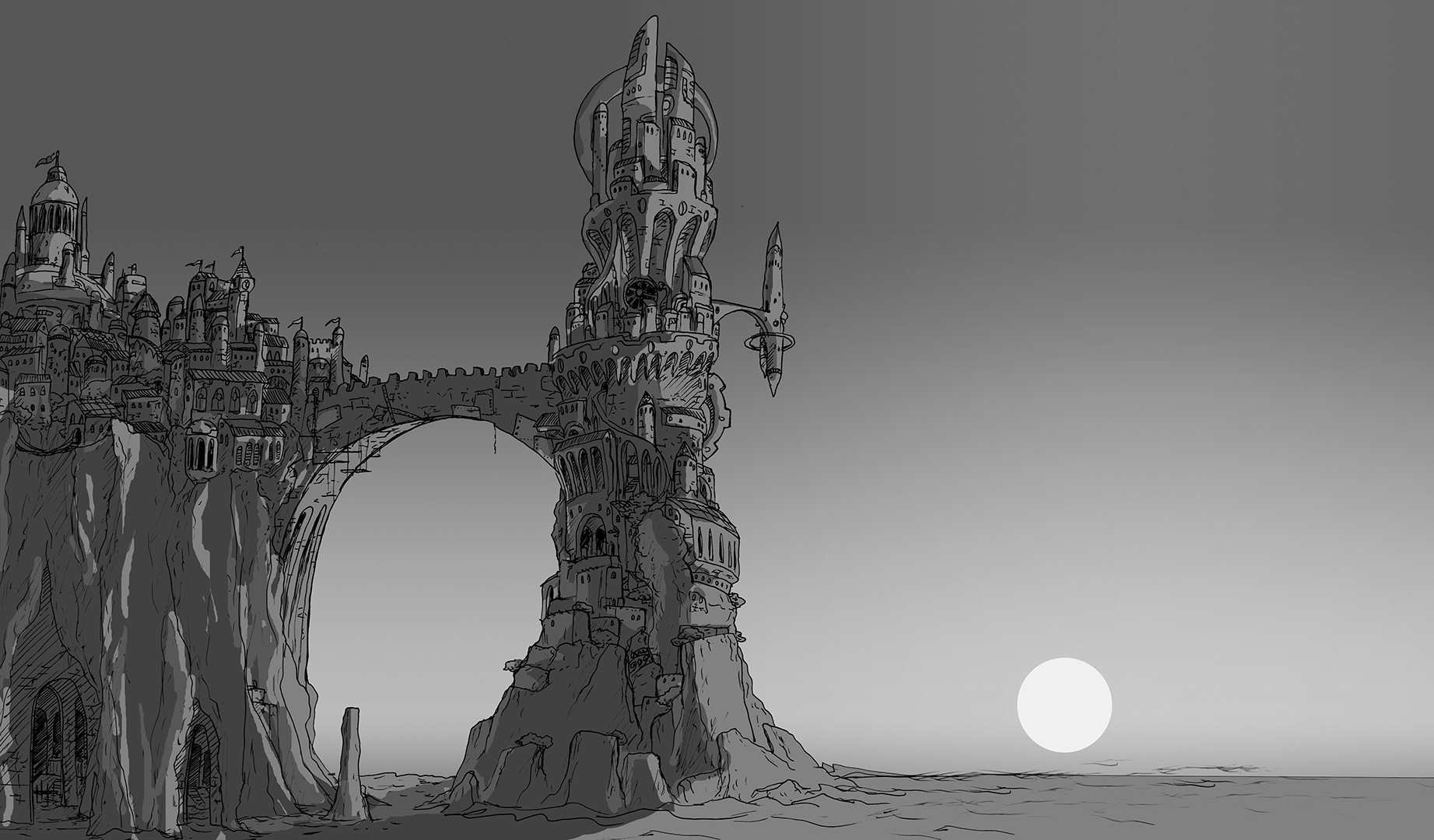 Cliff Tower BW