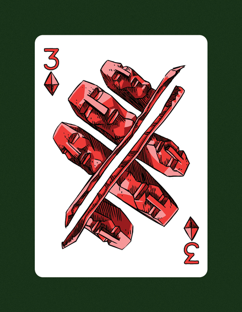 My drawing of the 3 Of Diamonds aka 3 Of Air