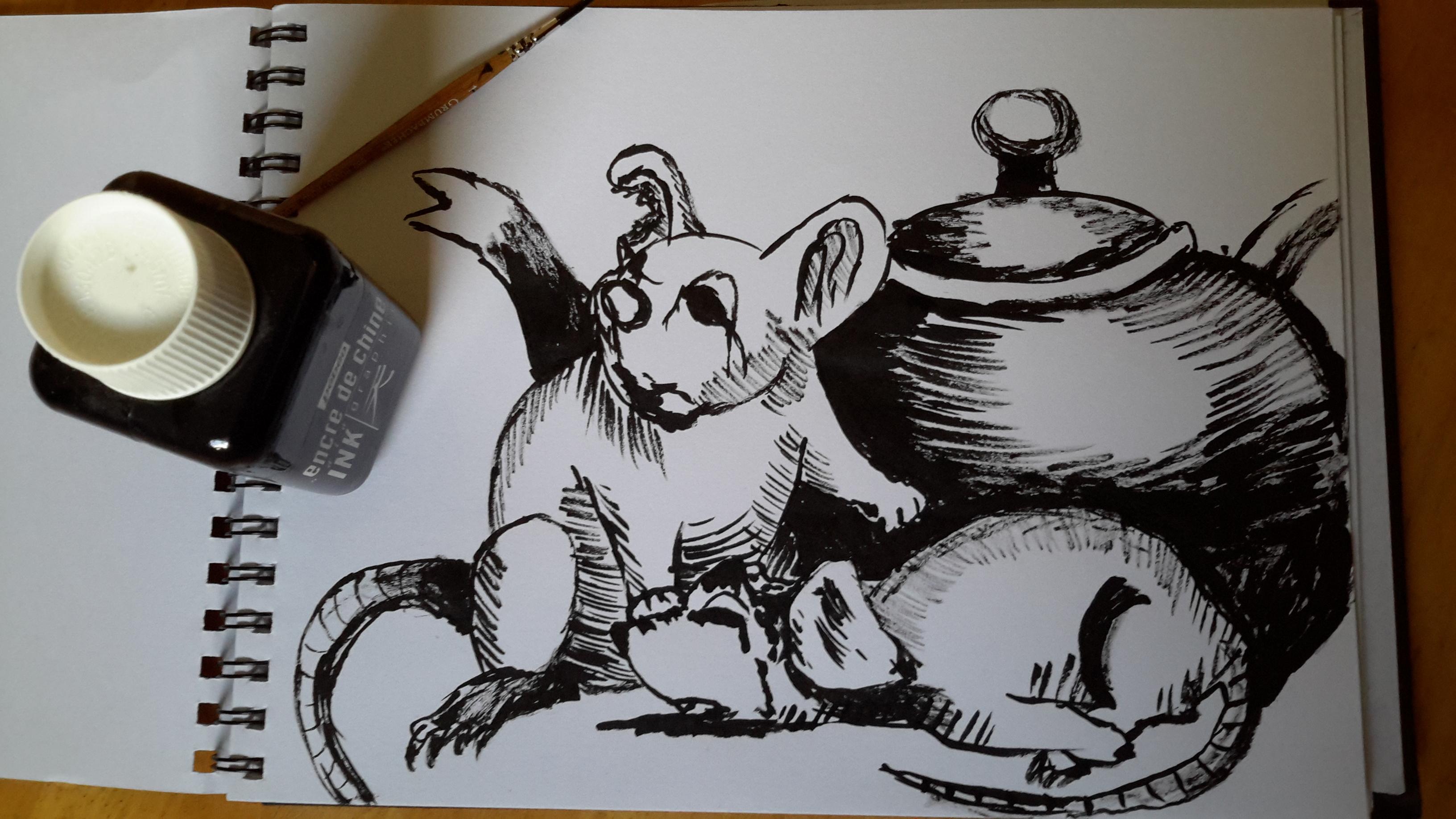 Inktober#1 zombie rats