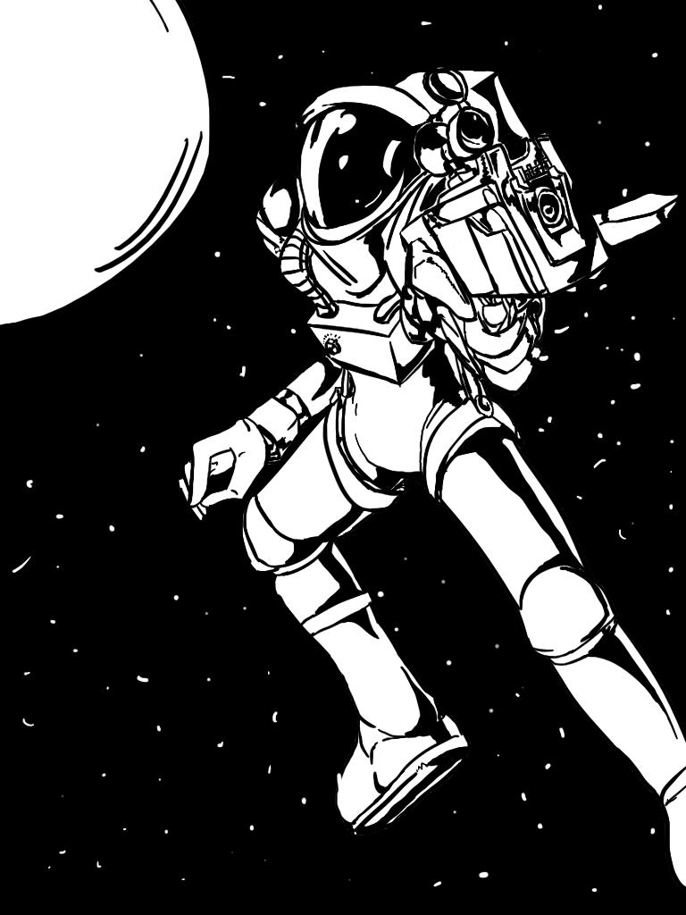 Two-Tone Astronaut with Gun