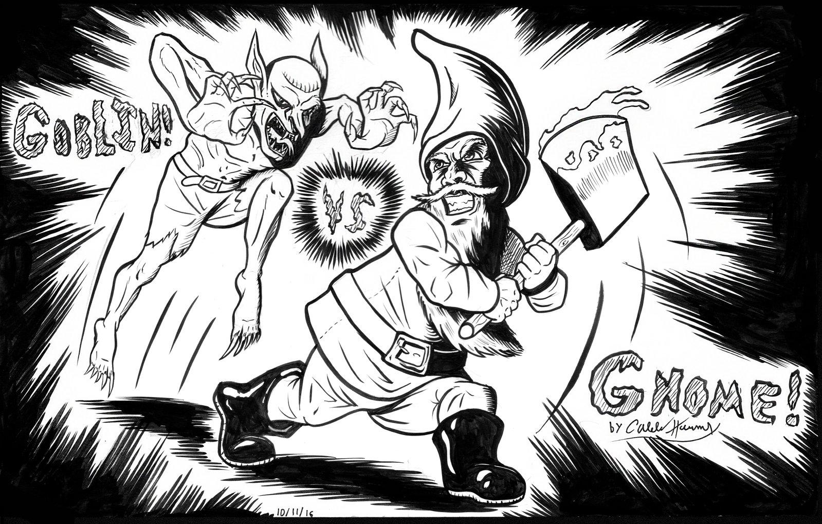 Inktober/Drawlloween #5 'Goblin vs Gnome!'