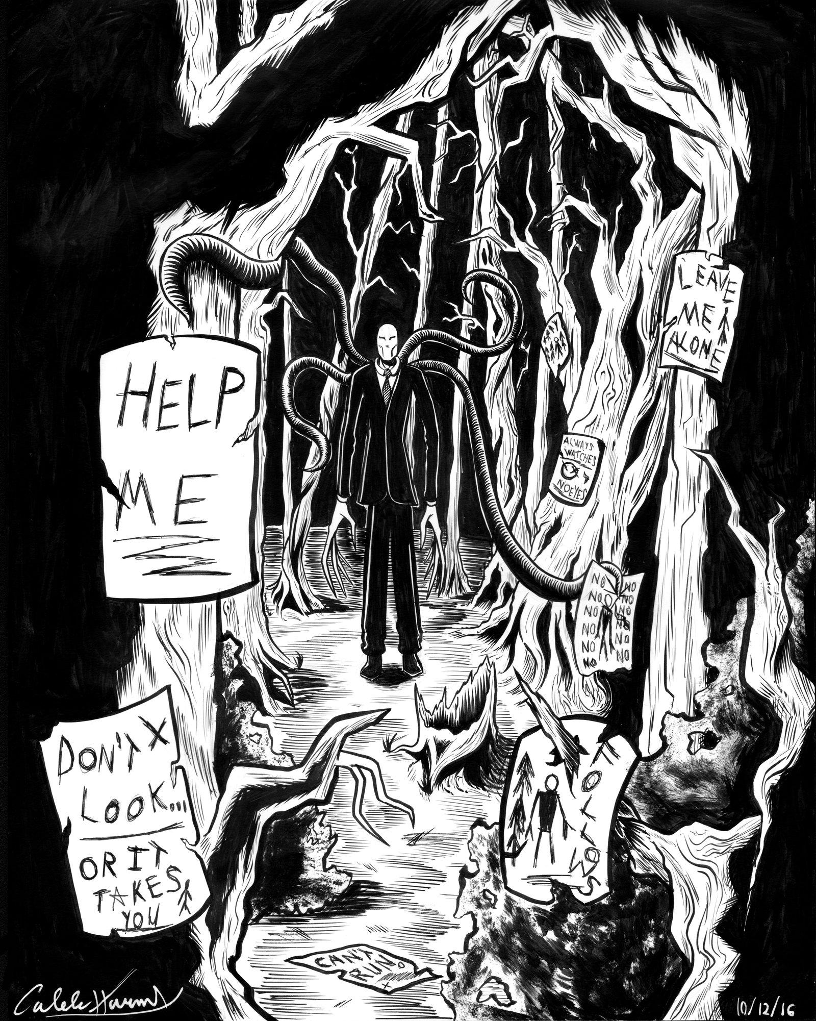 Inktober/Drawlloween #6 'The Slender Man'