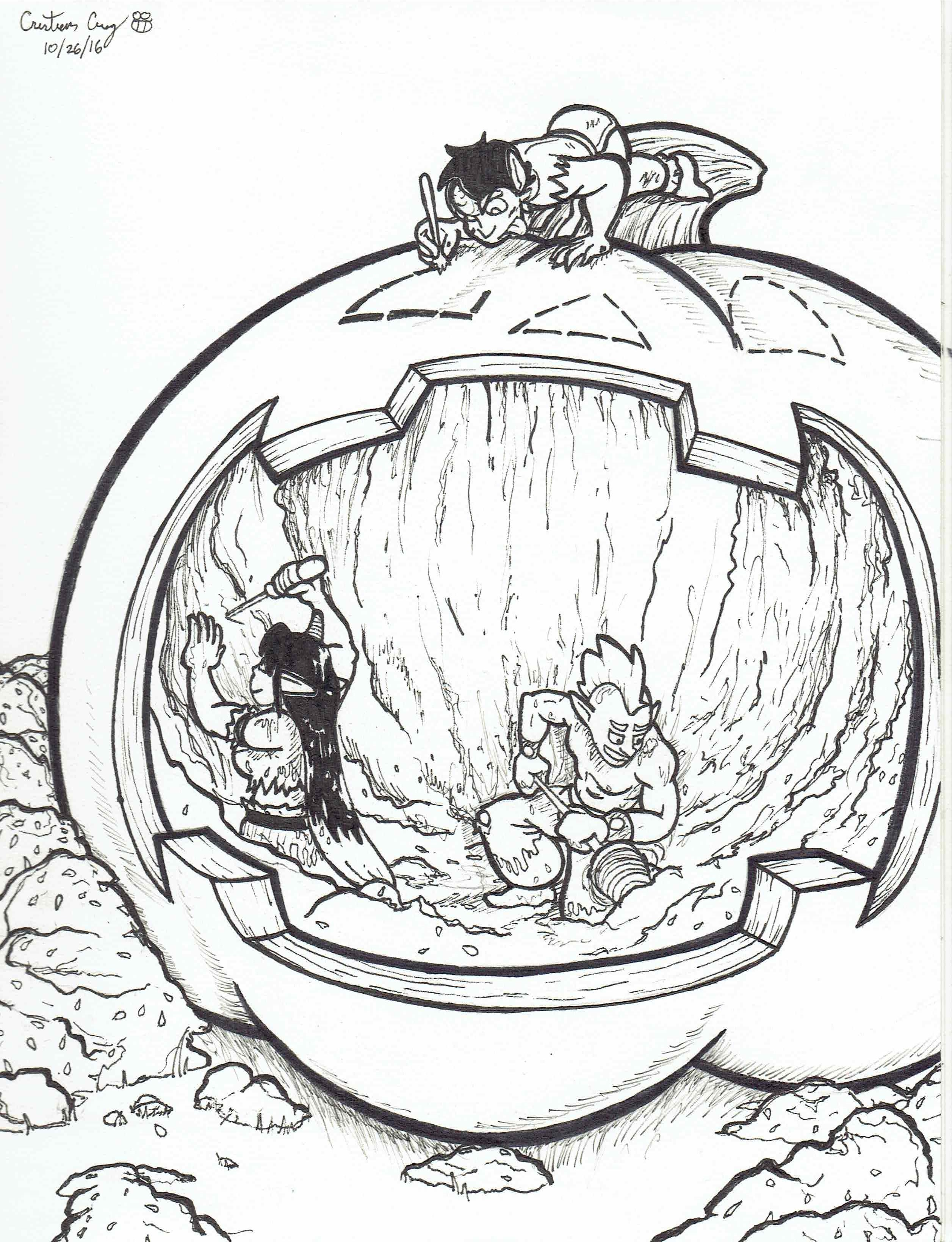 Inktober 2016 - Day 26: Pumpkin Carving