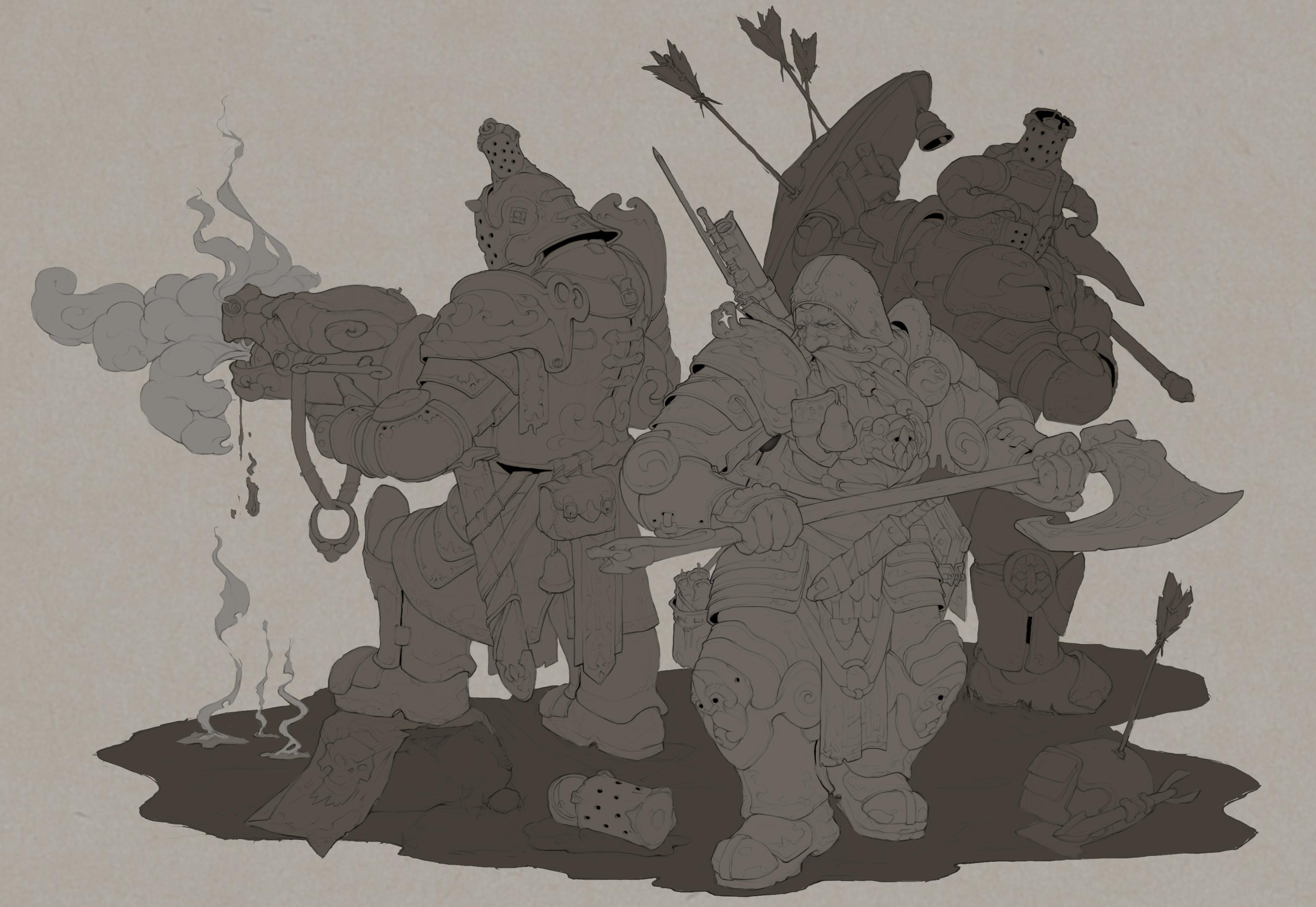 Dwarfs 1 part lineart
