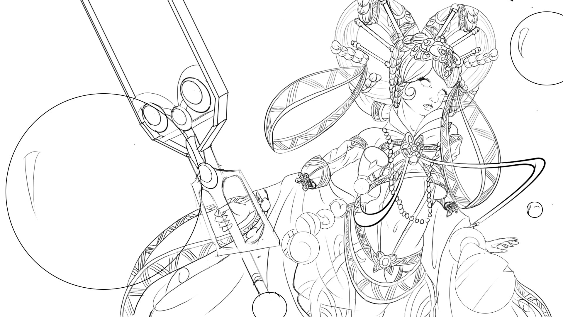 bubble mage lineart