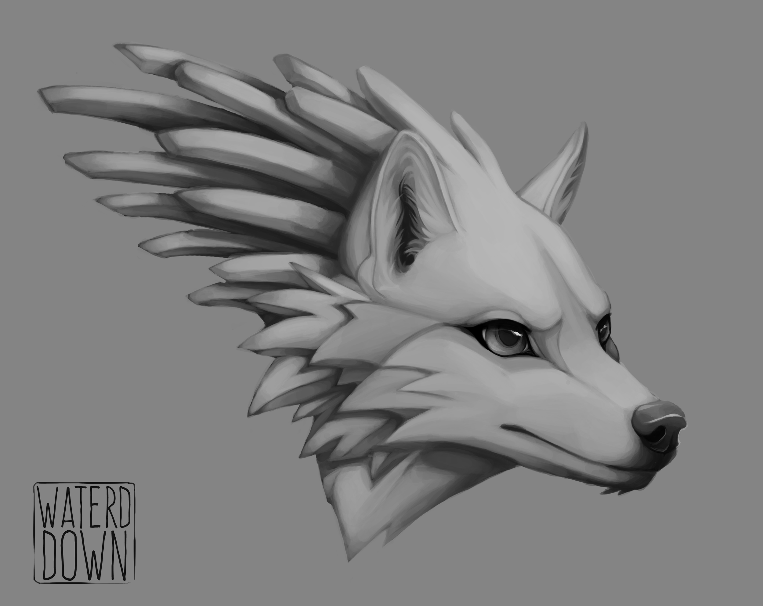 Grayscale Wolf Link