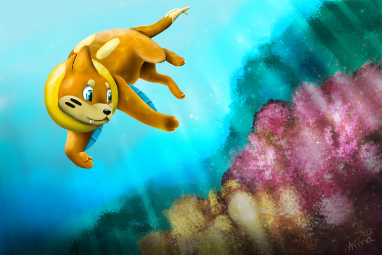 Buizel takes a swim