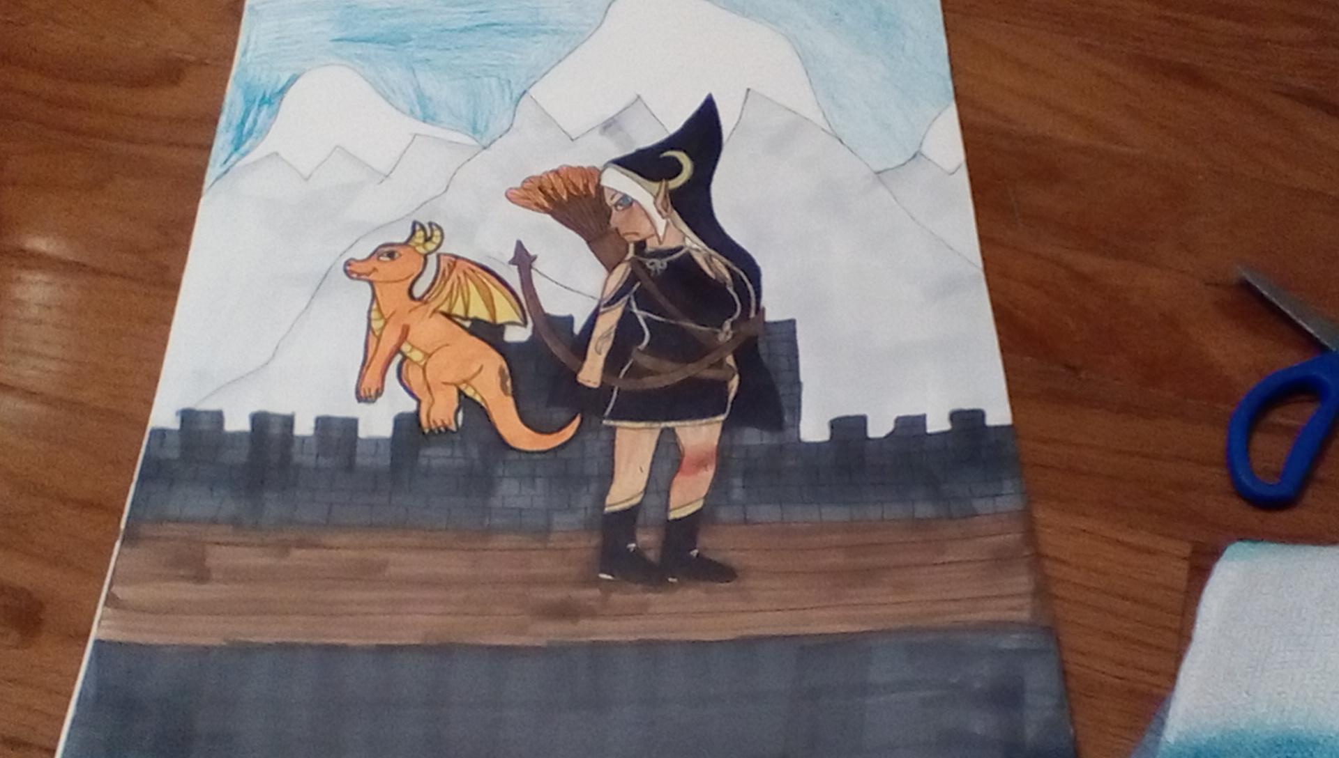 Elf archer with dragon