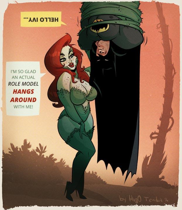 Poison Ivy and Batman - Cartoon PinUp