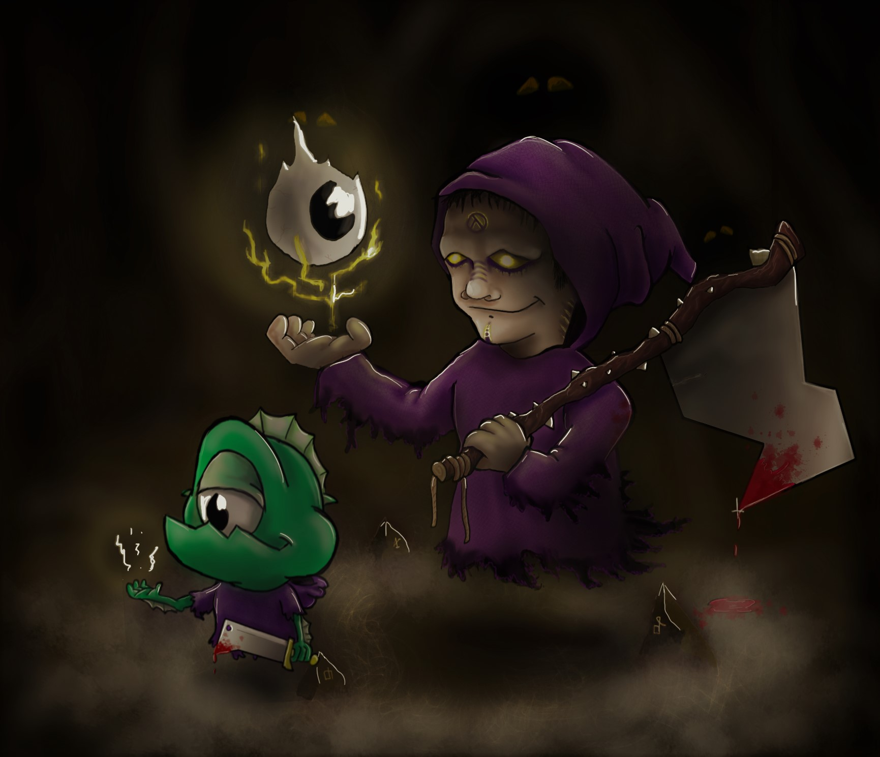 Wulfix the wizard and his little helper Waxin