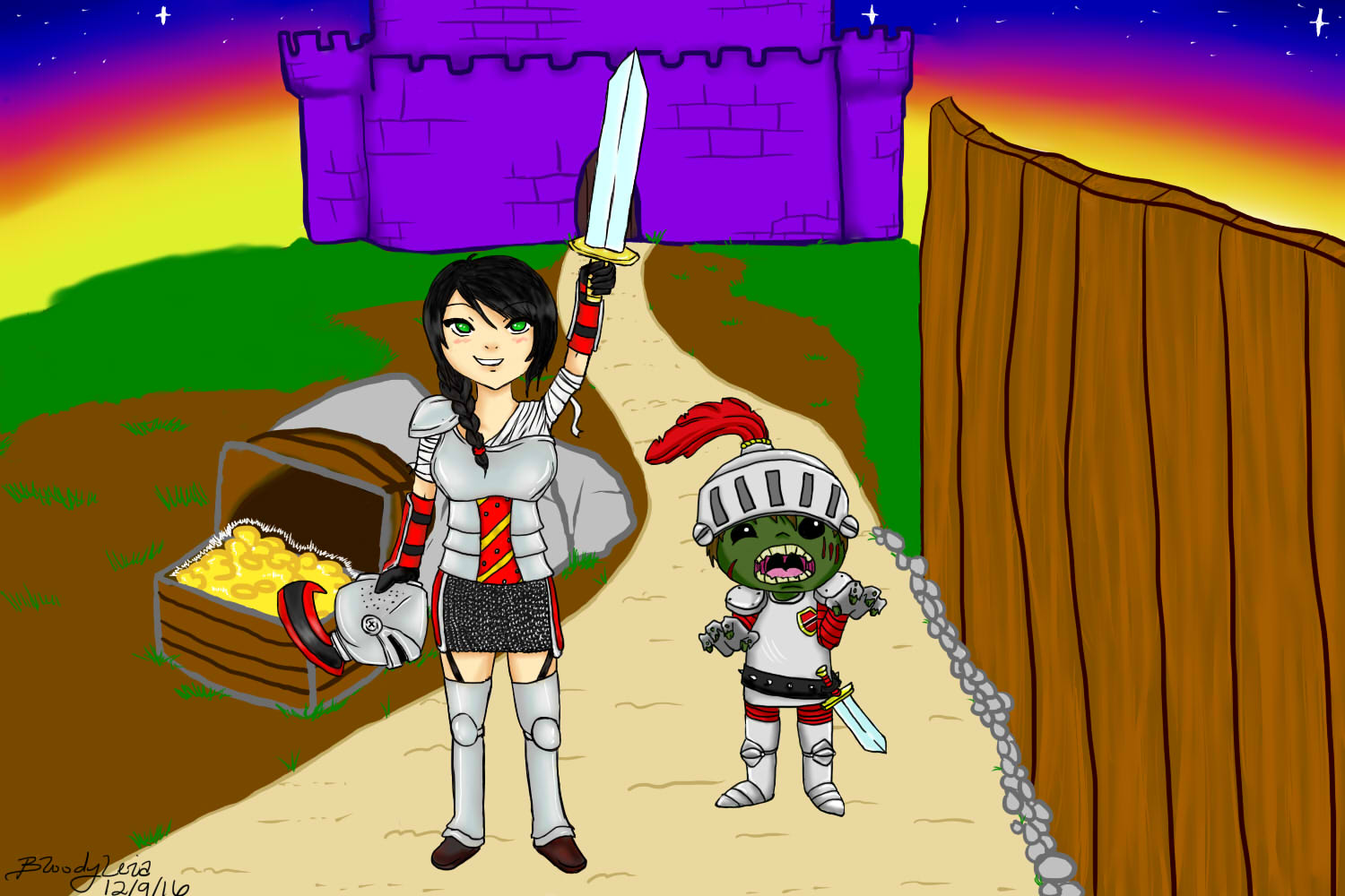 Leia and Her Zombie Knight Tom!
