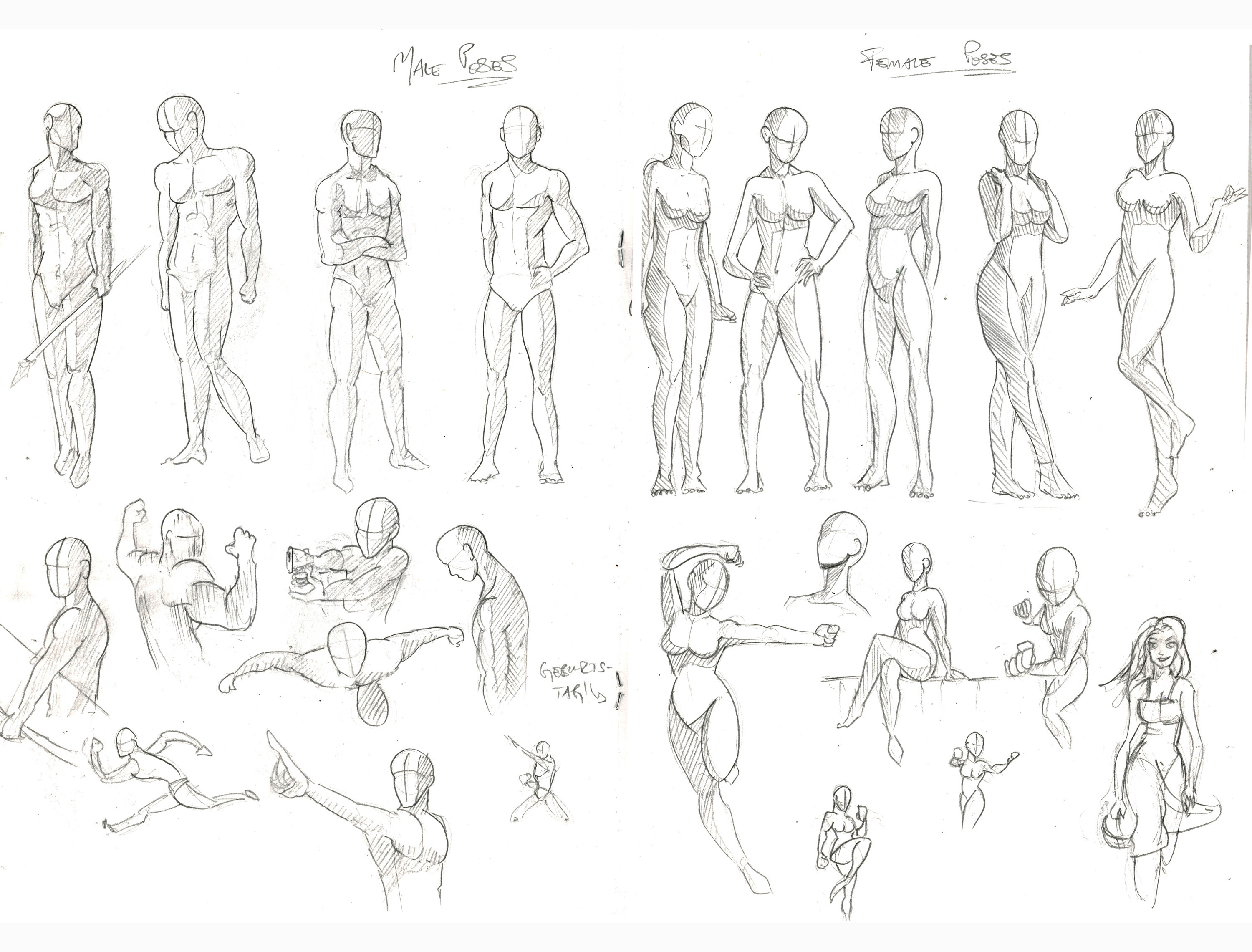 Character Poses (My 2016 Sketchbook Nr  2) by Alexandrowic
