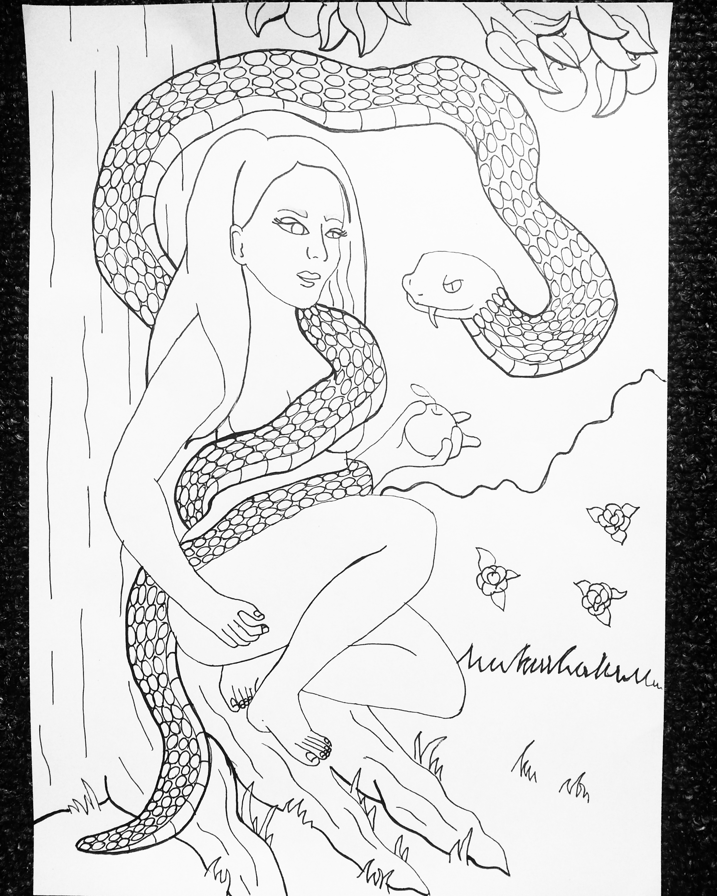 Serpent persuasion line art