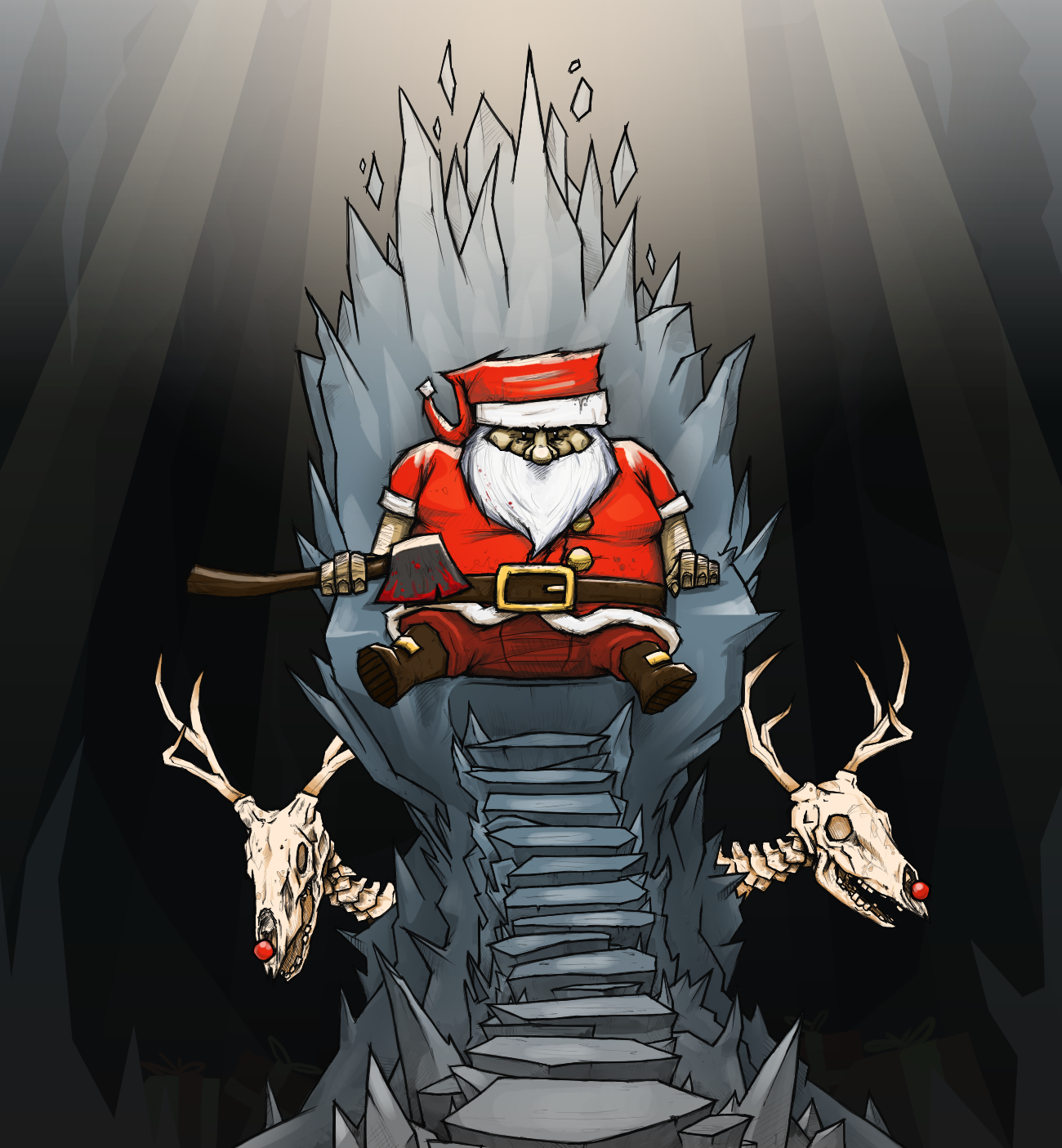 Awesome Santa And Hardcore Reindeer