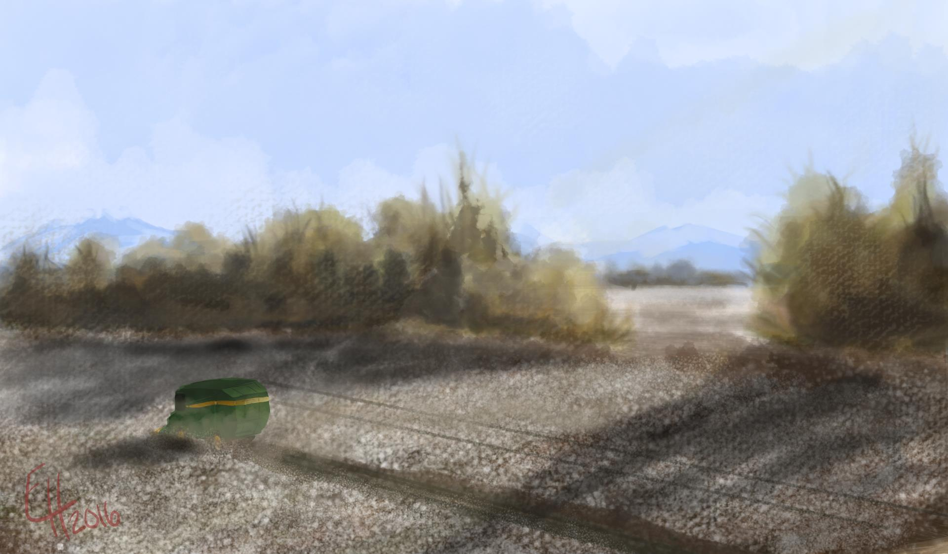 Digital Painting 027 - Combine in a Cotton Field.