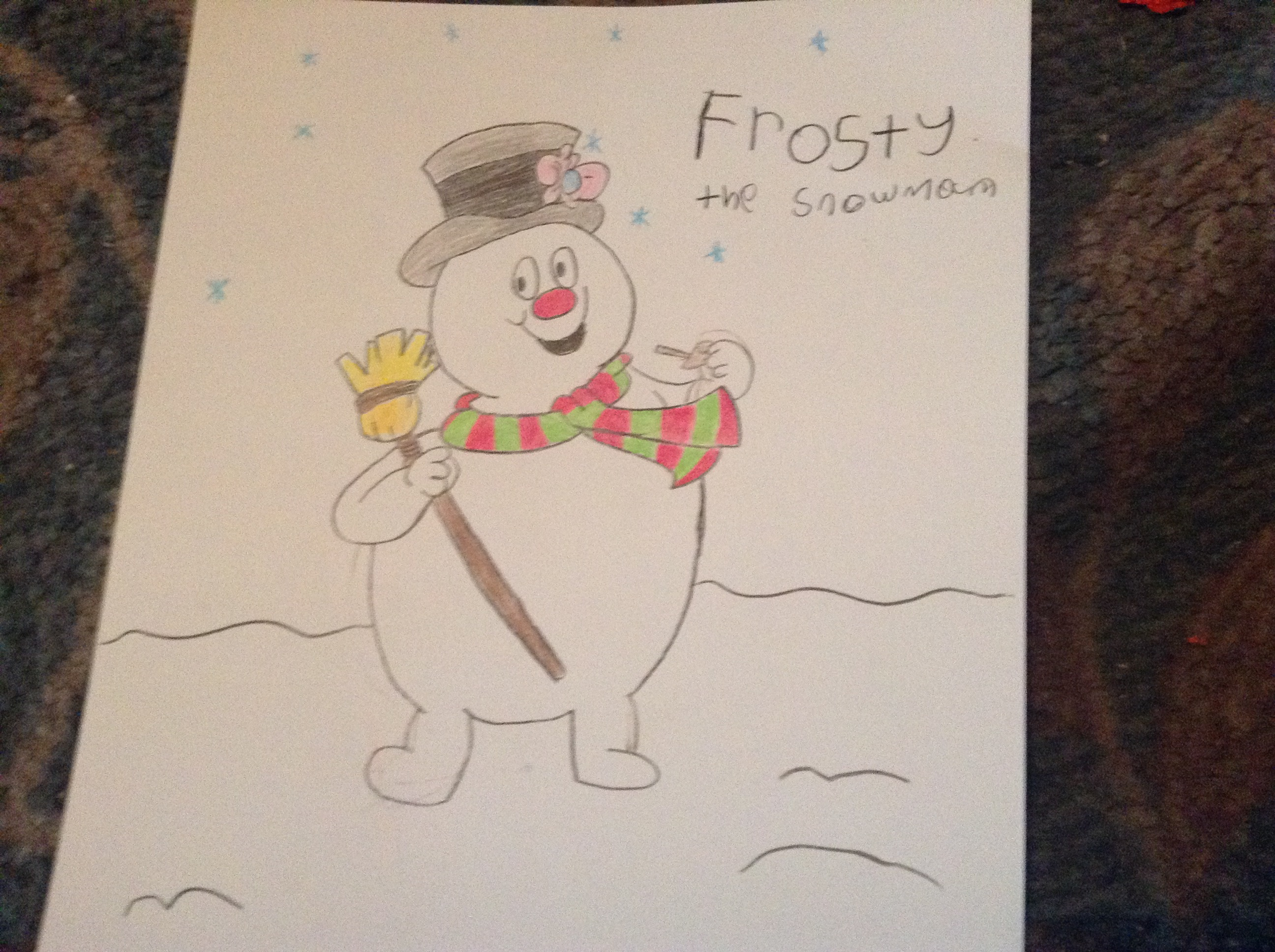 A Late Frosty the Snowman Drawing