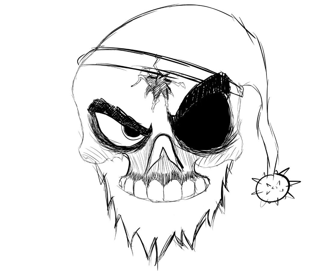 Christmas Skull Sketch
