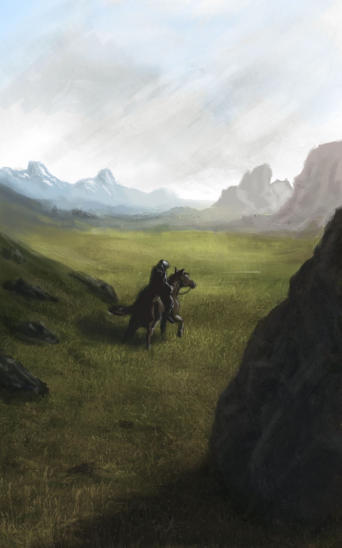 Landscape and horse