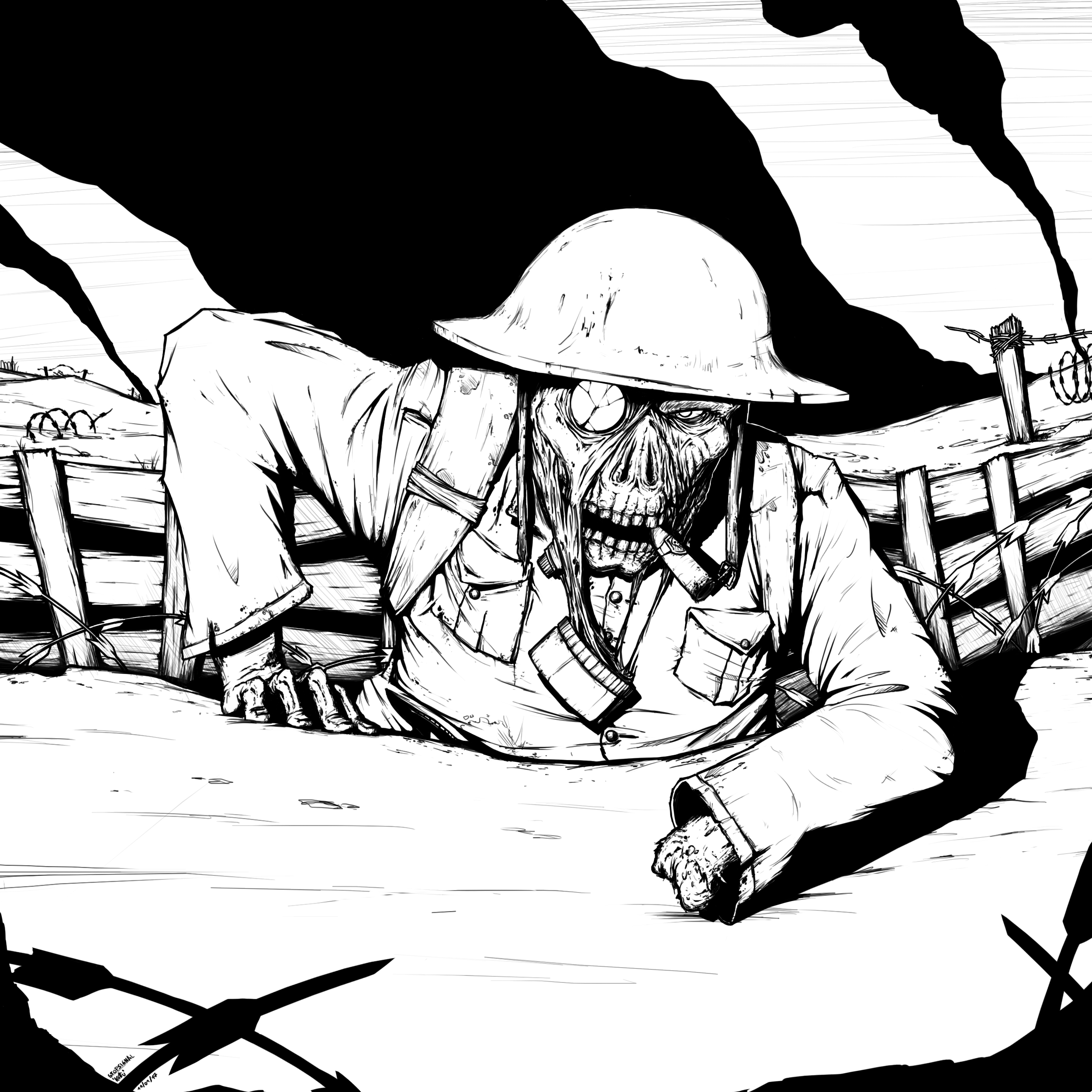 Soldier black and white