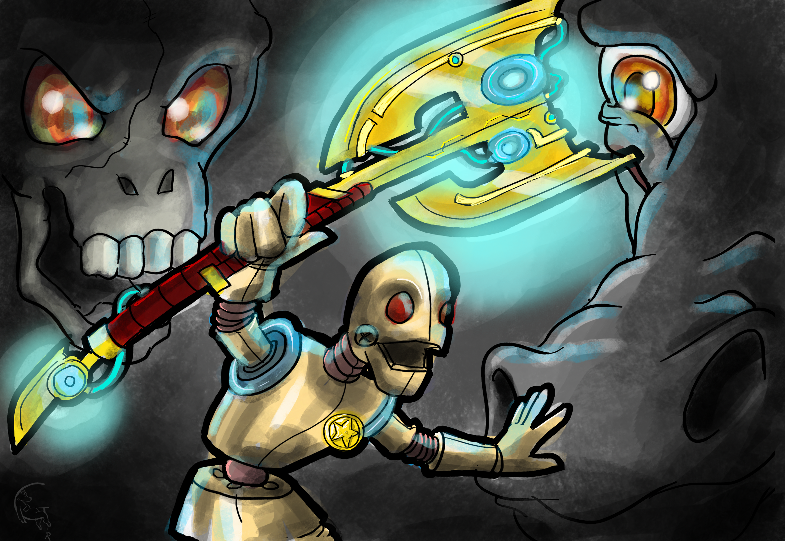 Sheriff Robot during an exploration, and fighting againt Evil