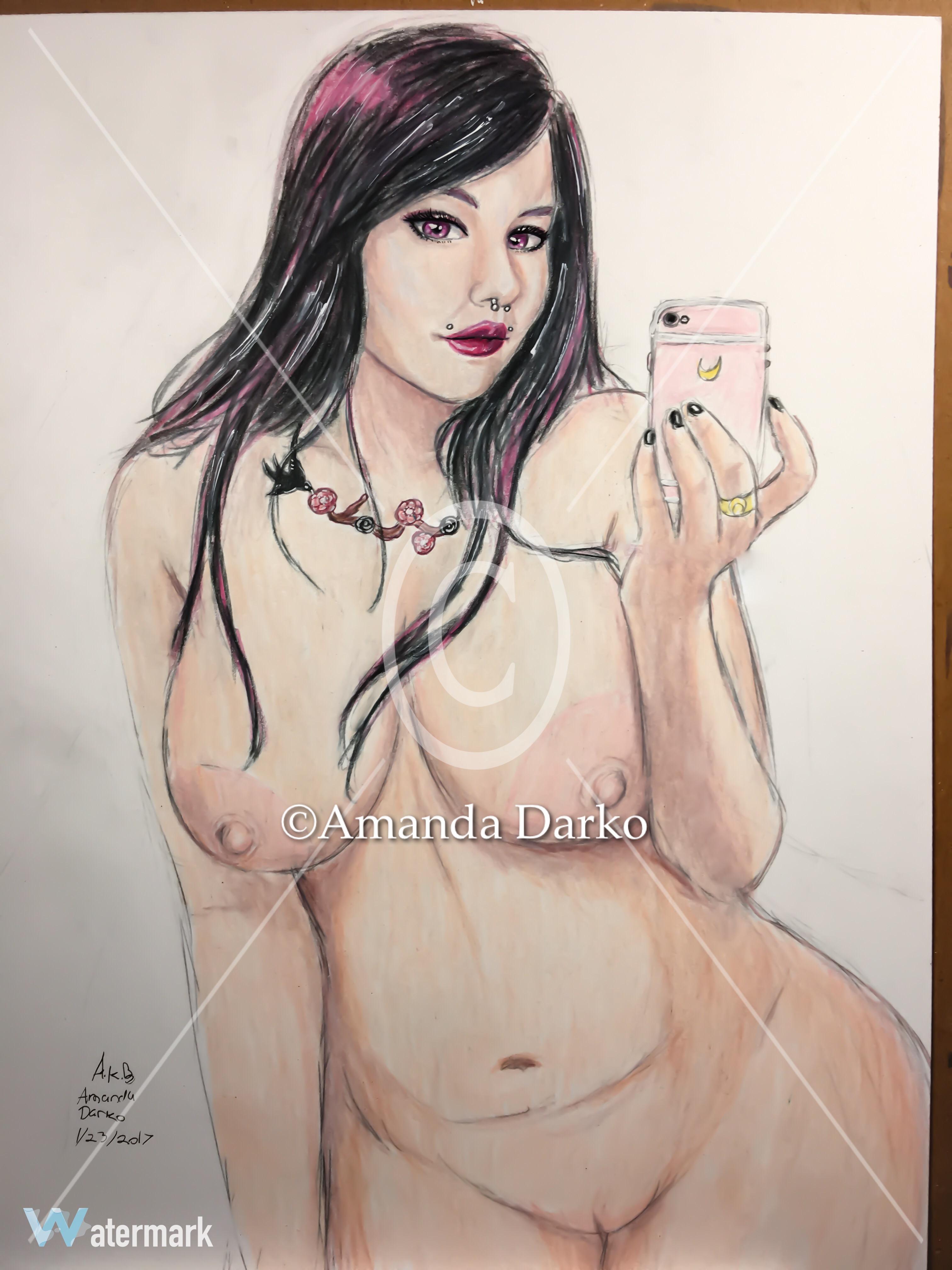 Nude self pinup portrait