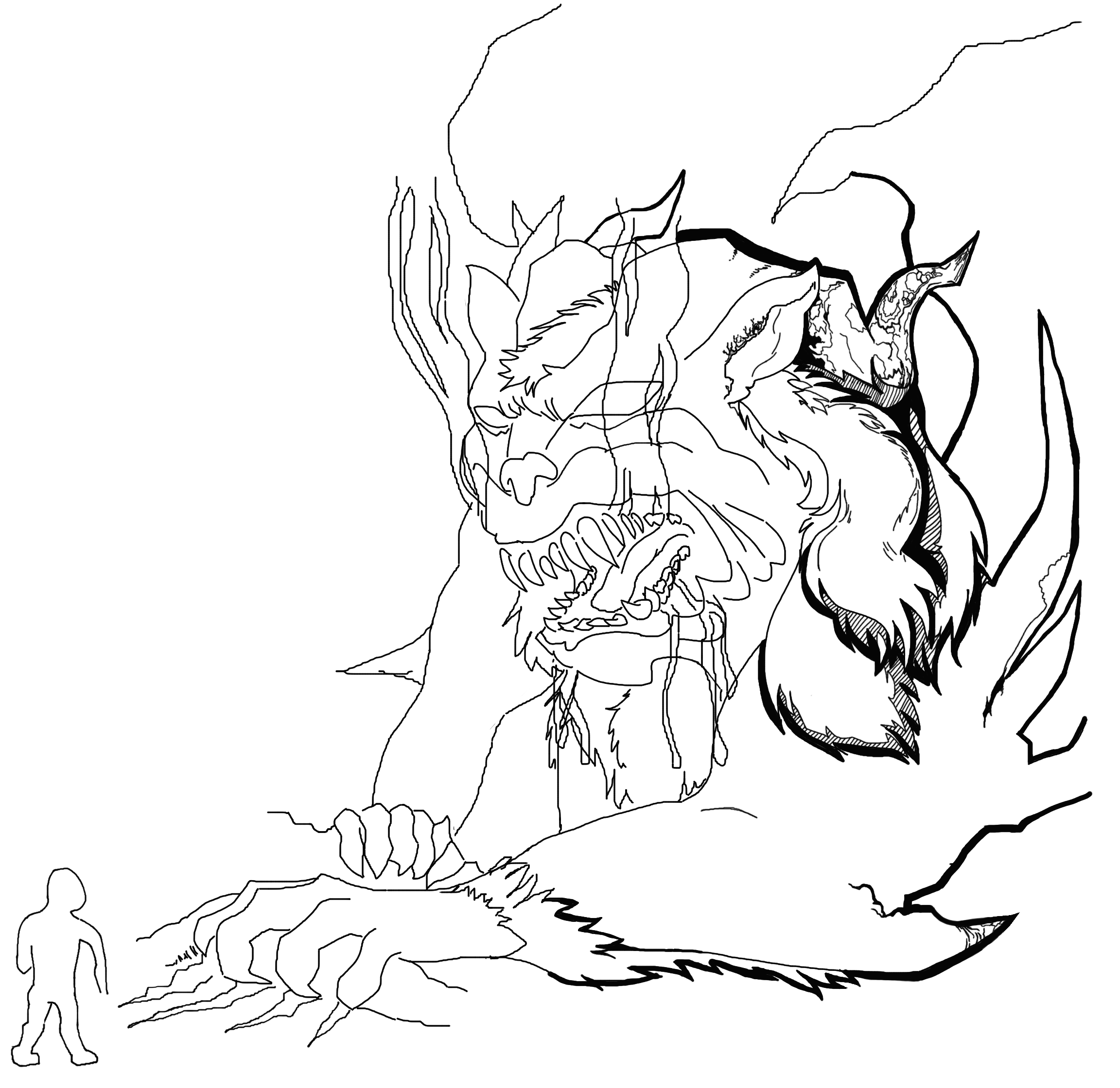 Soldier Against Hell Beast Sketch
