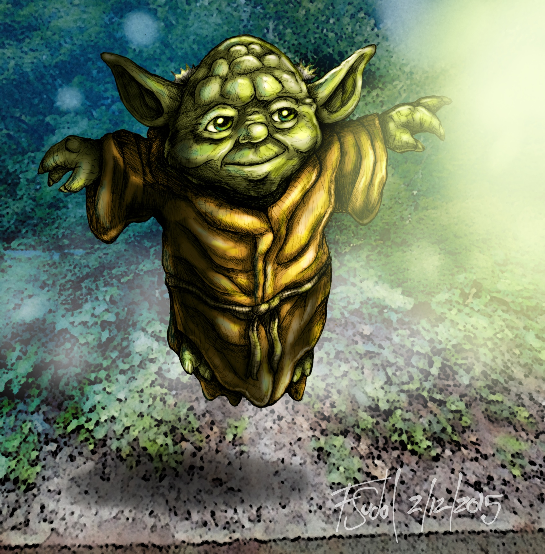 Yoda using the Force to Float