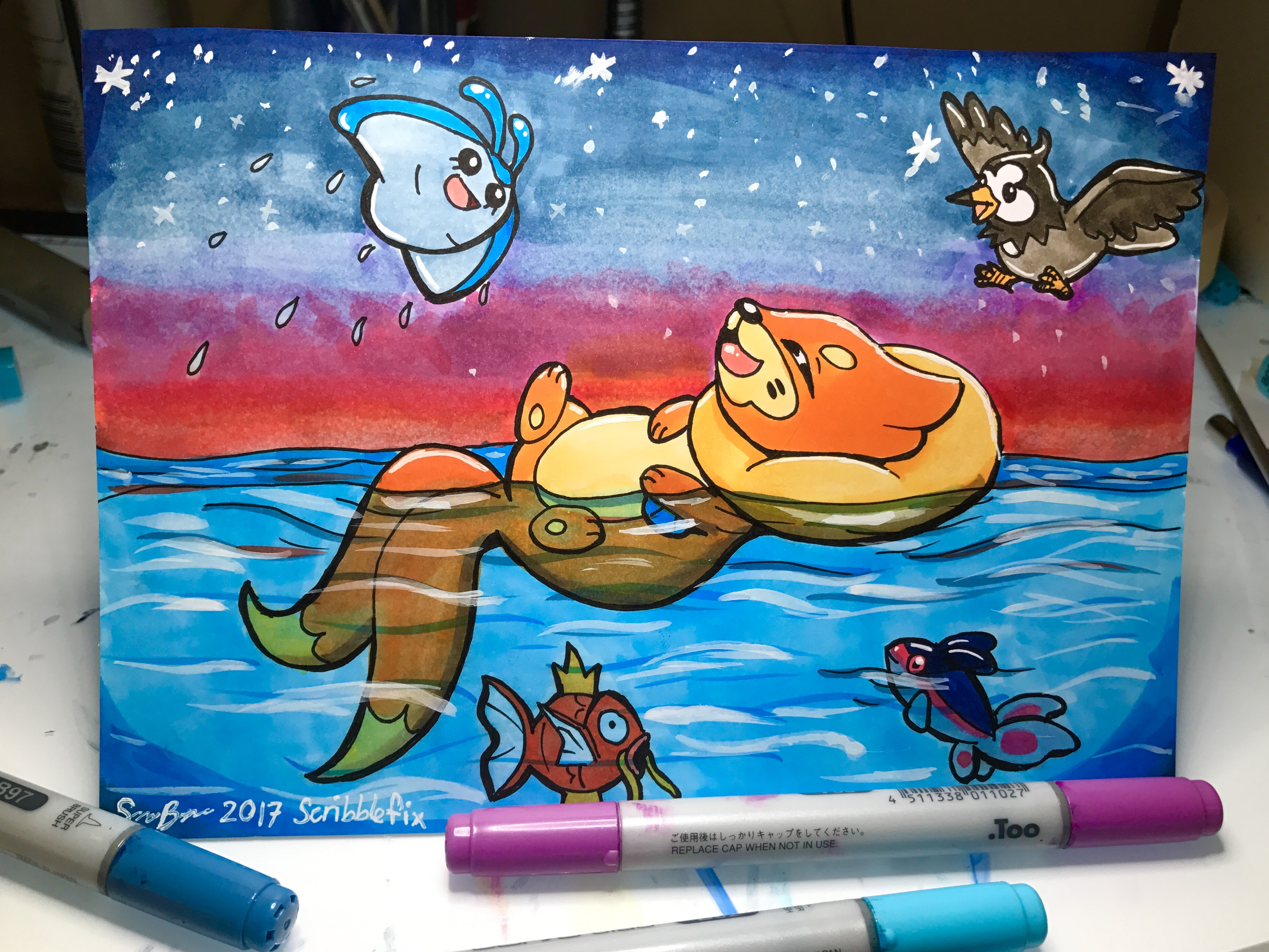 Buizel Copic Marker illustration