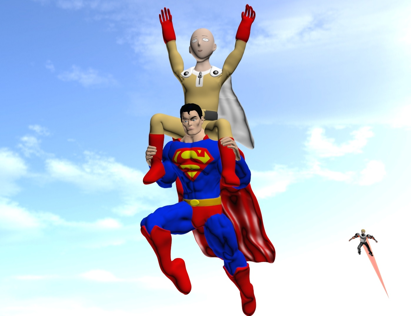 superman gives saitama a lift