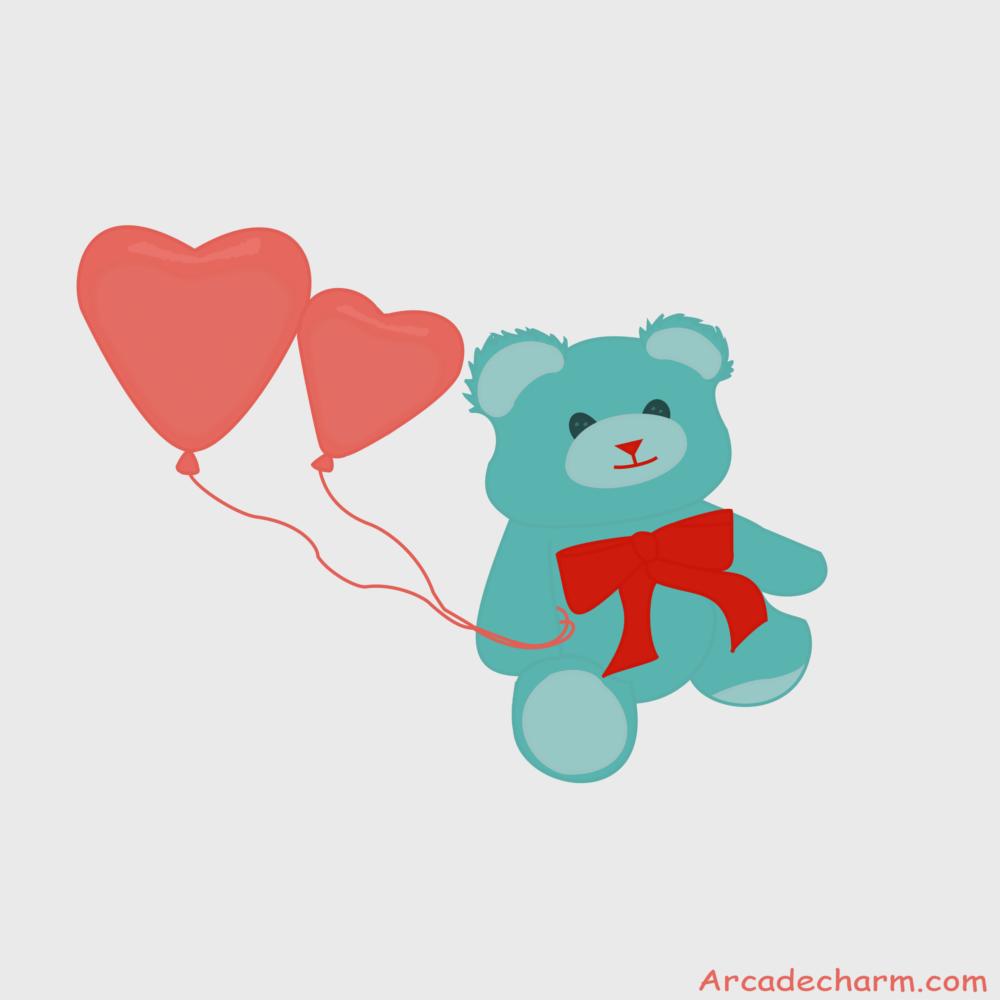 Teddy holding balloons!