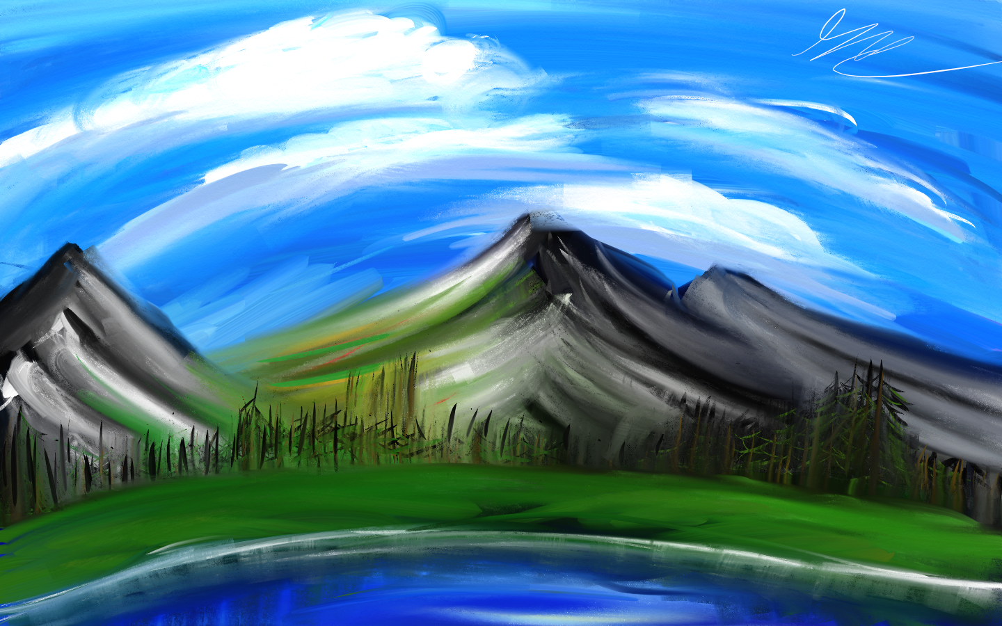 Digital Mountainside Painting
