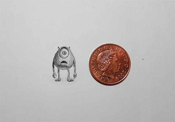 mike wazowski Miniature Pencil Drawing
