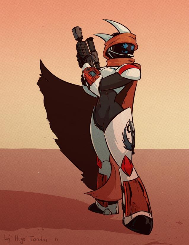 Commission - Desert Warrior Emmy - Cartoon PinUp