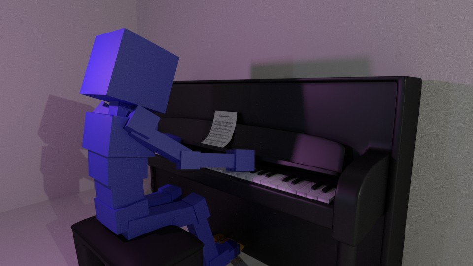 Block Man plays Piano
