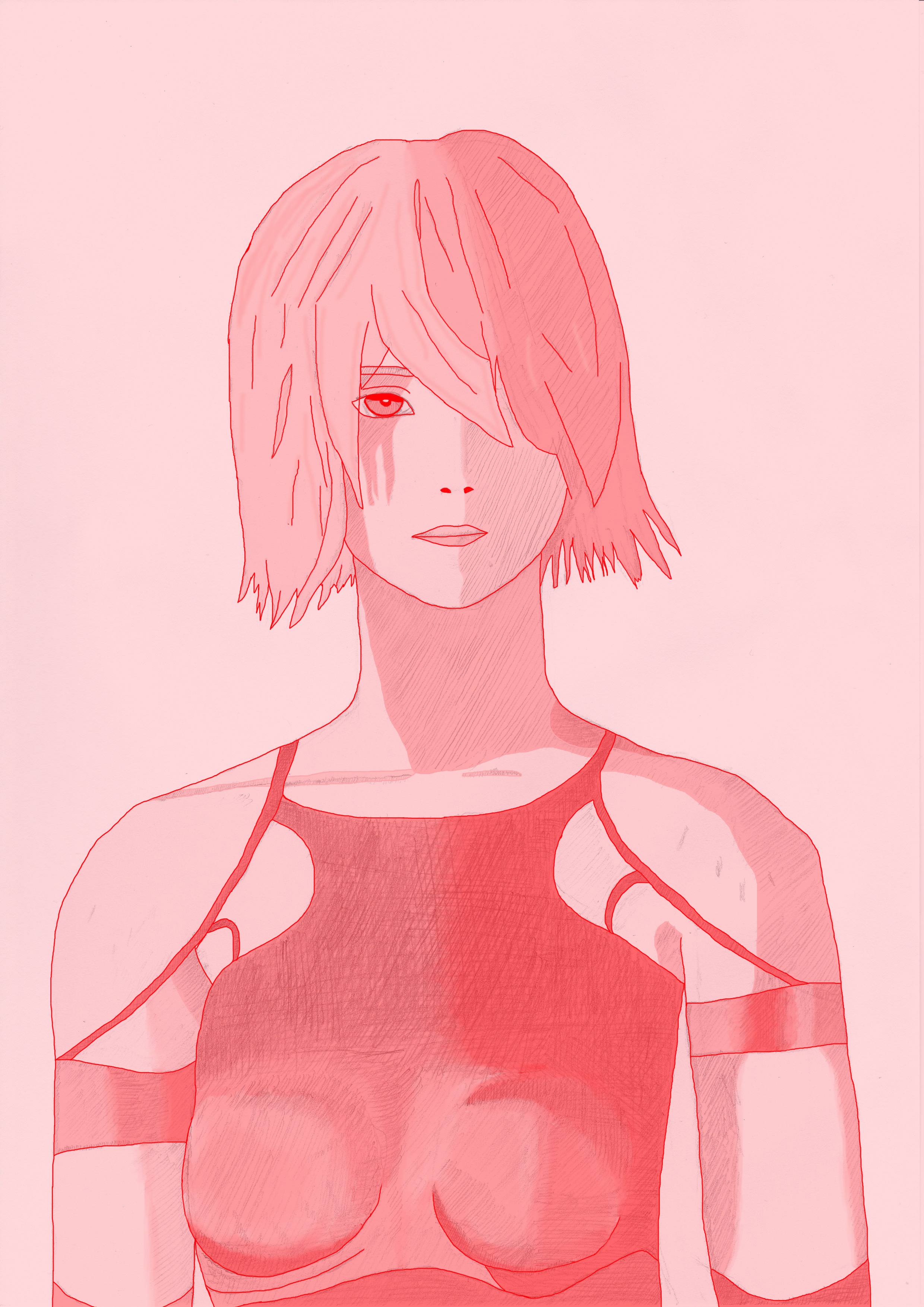 NieR Automata Pencil Drawing Red Coloured