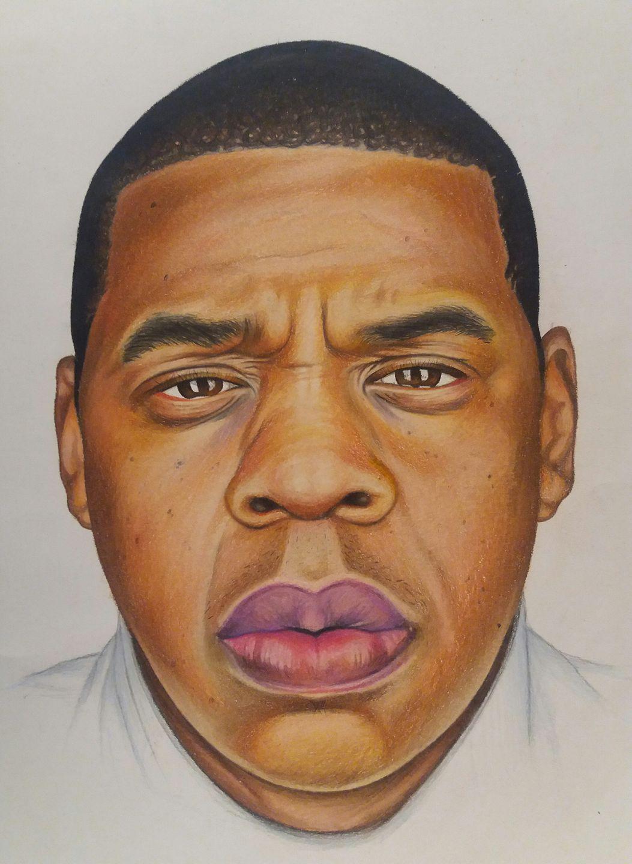 Jay Z portrait in Prismacolor pencils