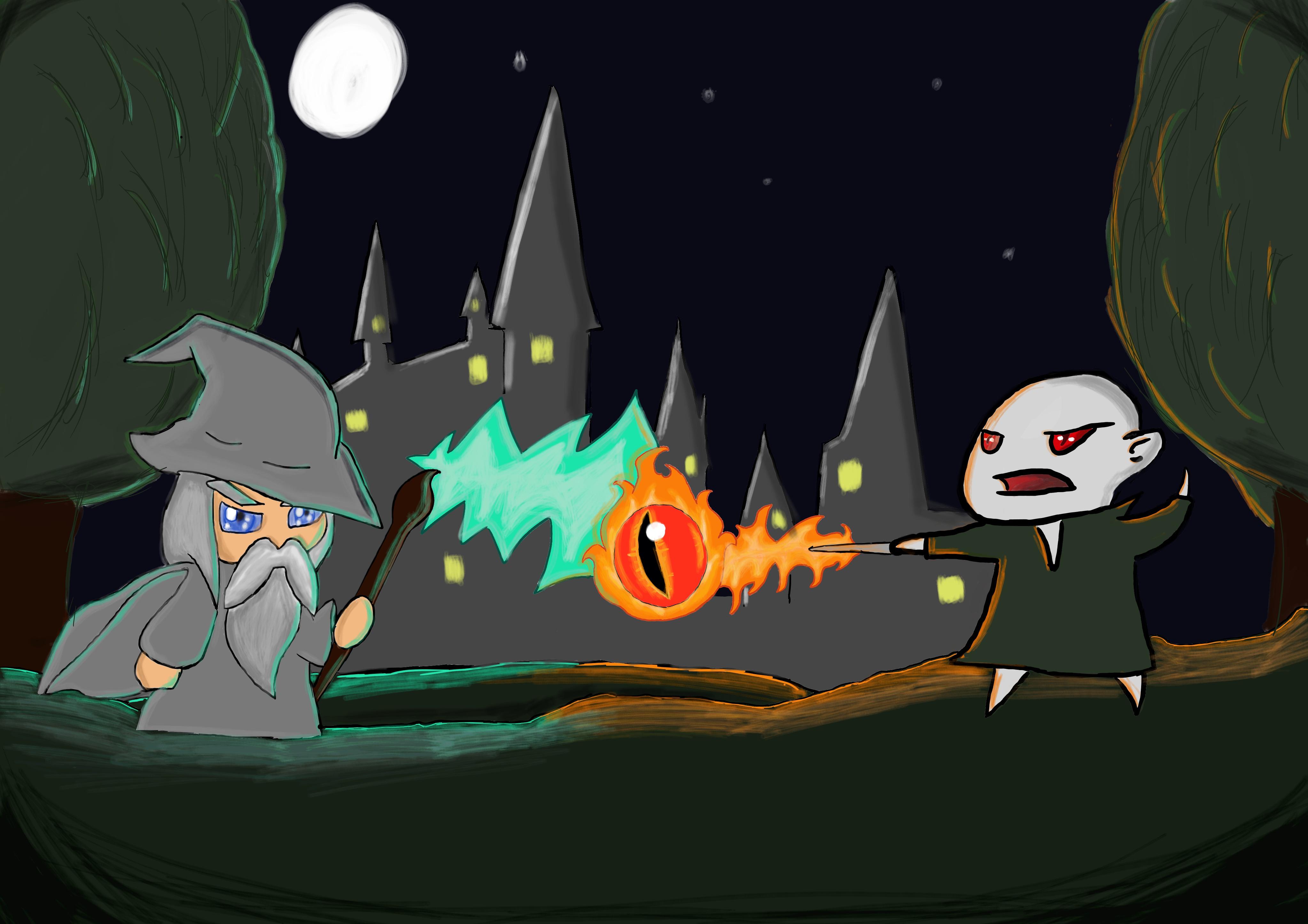 the battle of the wizards (gandalf vs voldemort) B-COTMLOTH