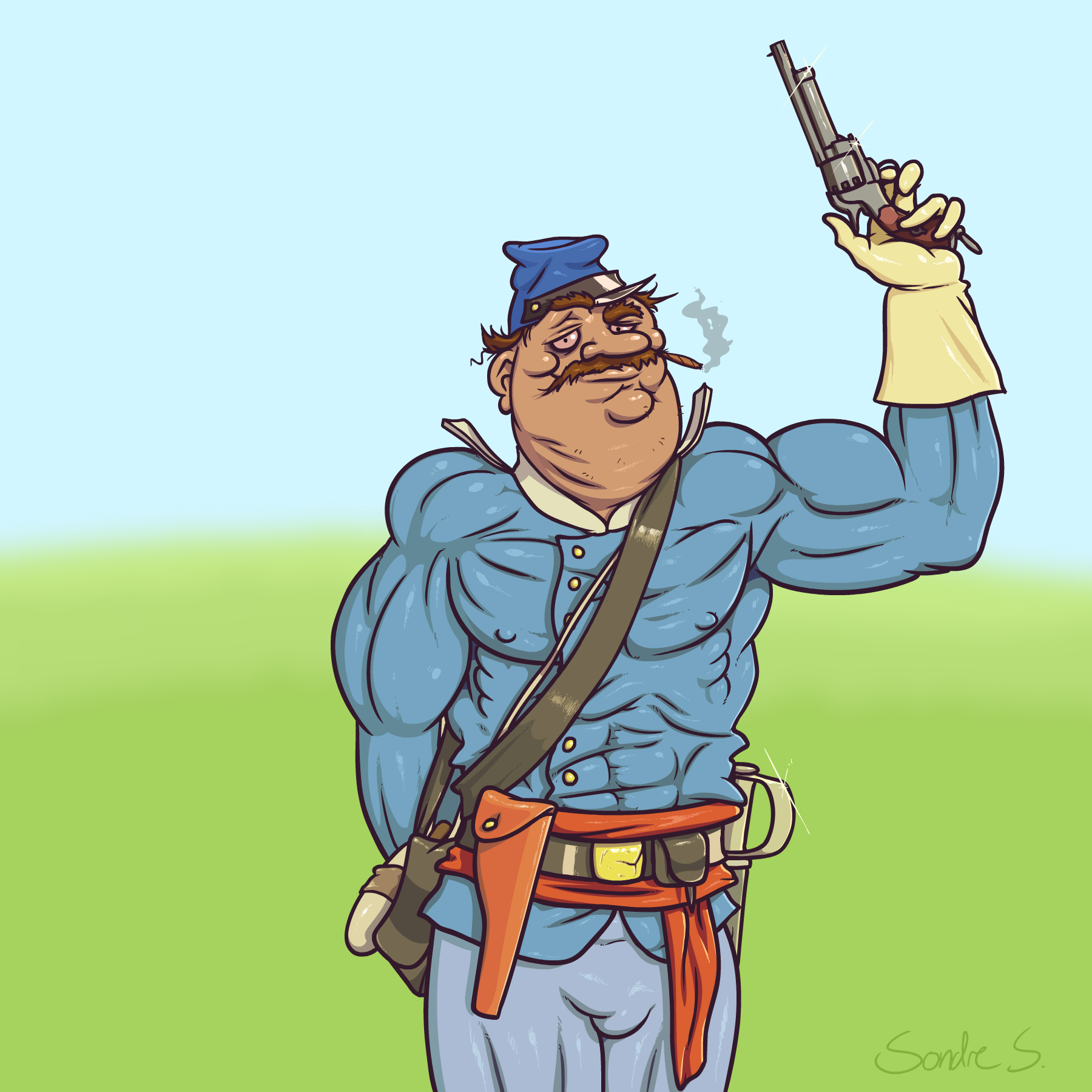 Posing officer (caricature)