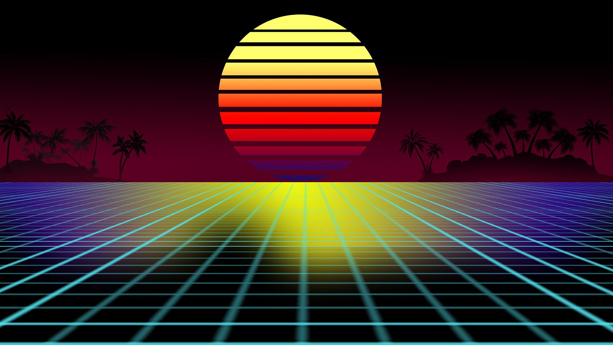 Retro 80's Tropical Background
