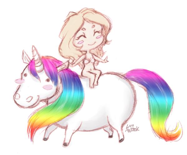 Riding a unicorn