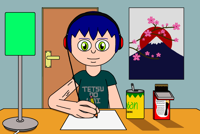 Keaton at his desk