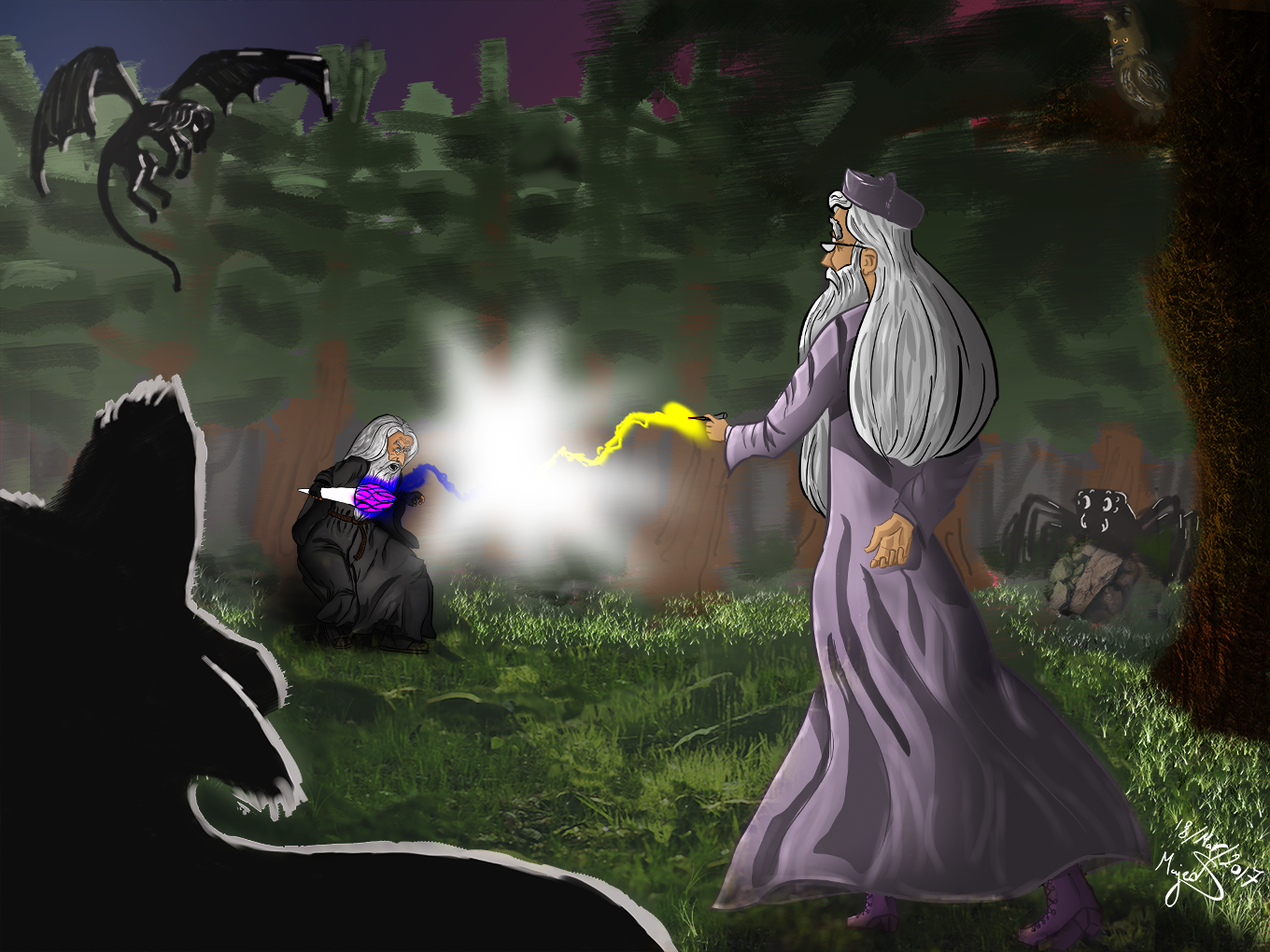"""""""A training session (or a battle) in the forbidden forest"""""""