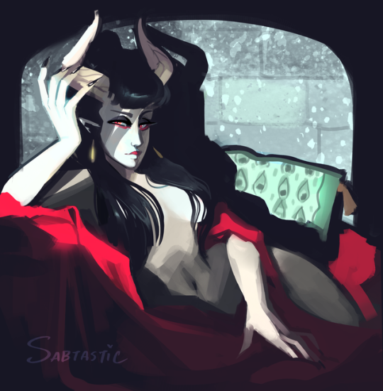 Lounging Monster Gal - Digital Warmup Painting