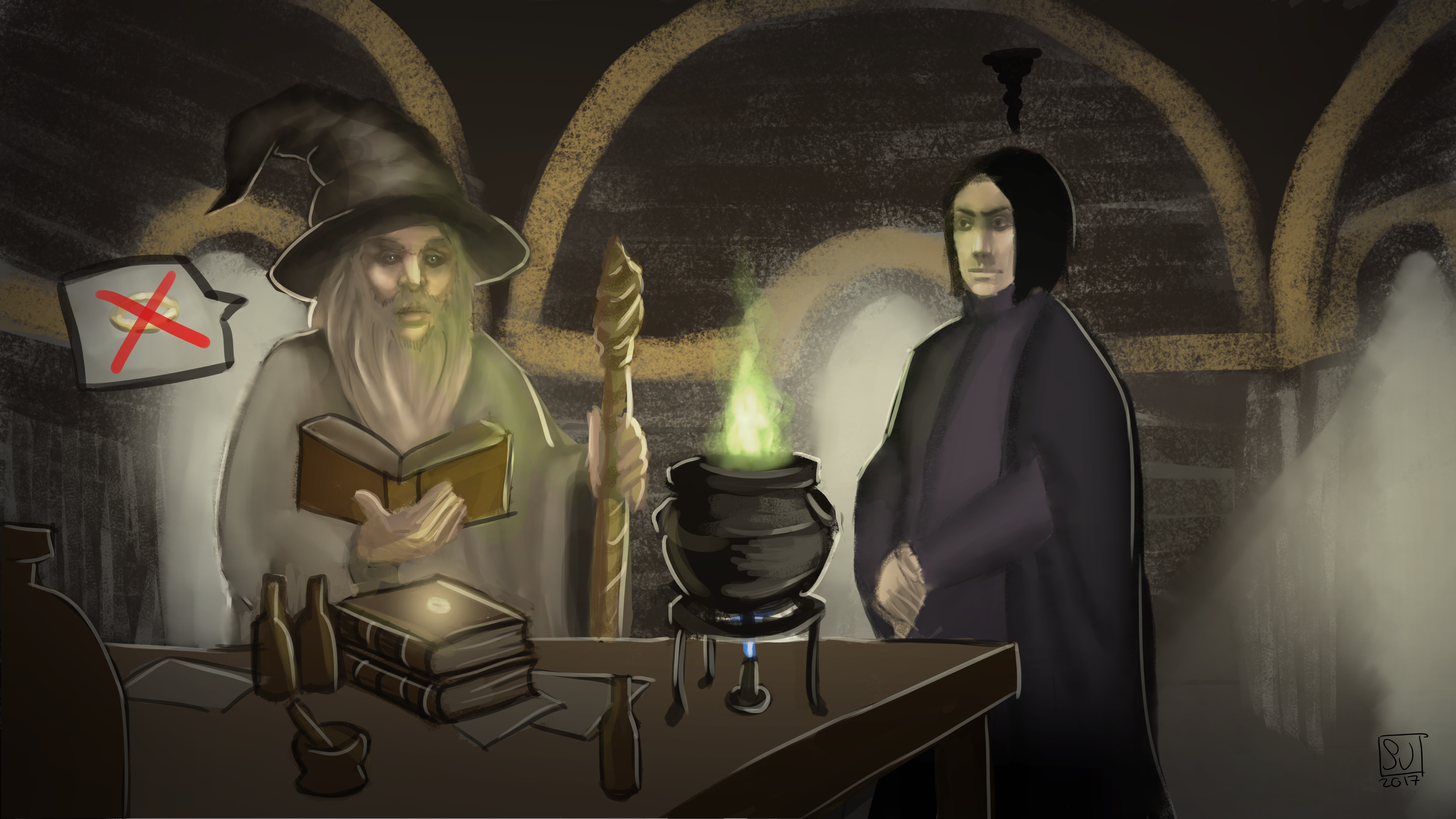 Gandalf and Snape in potion class