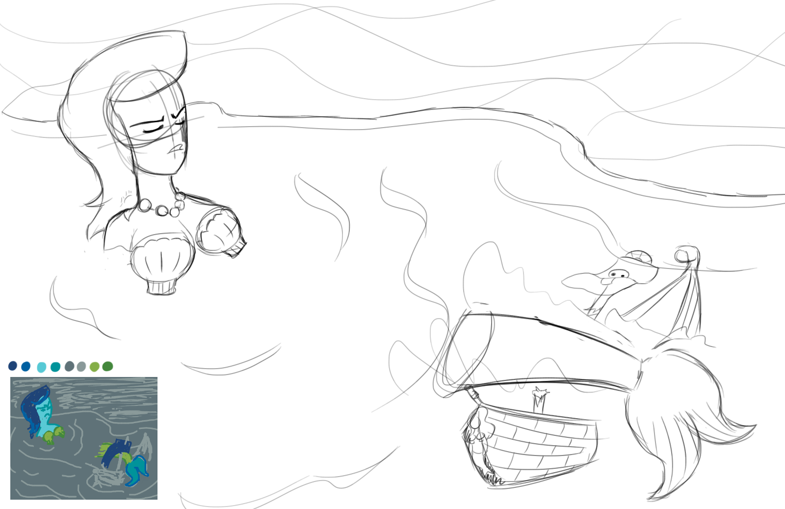 Sketch: Mermaid Sinks A Pirate Ship