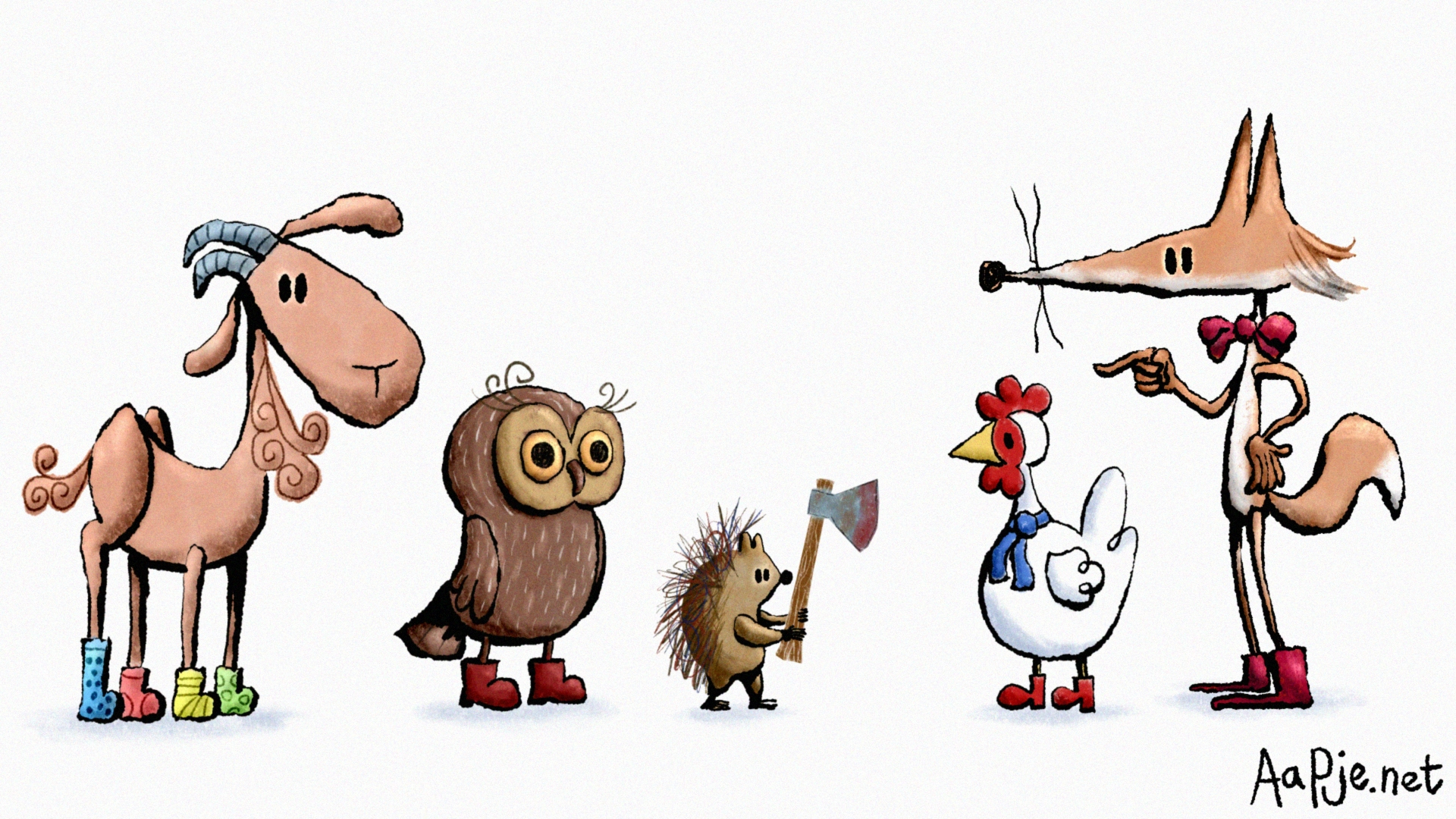 goat, owl, hedgehog, chicken and fox