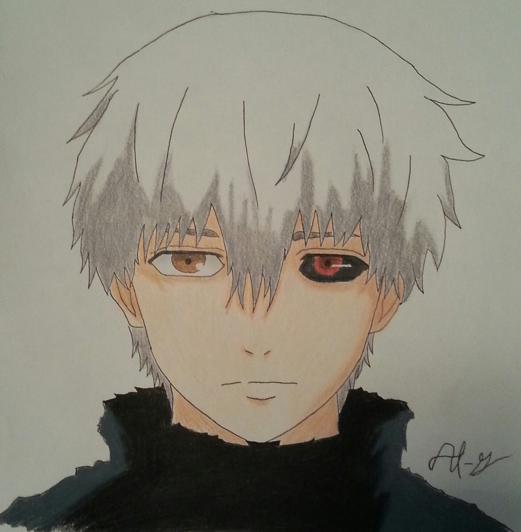 how to draw ken kaneki