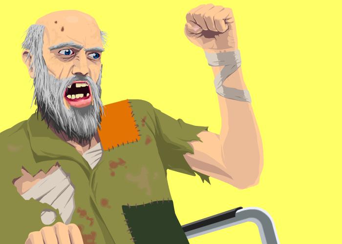 angry homeless man
