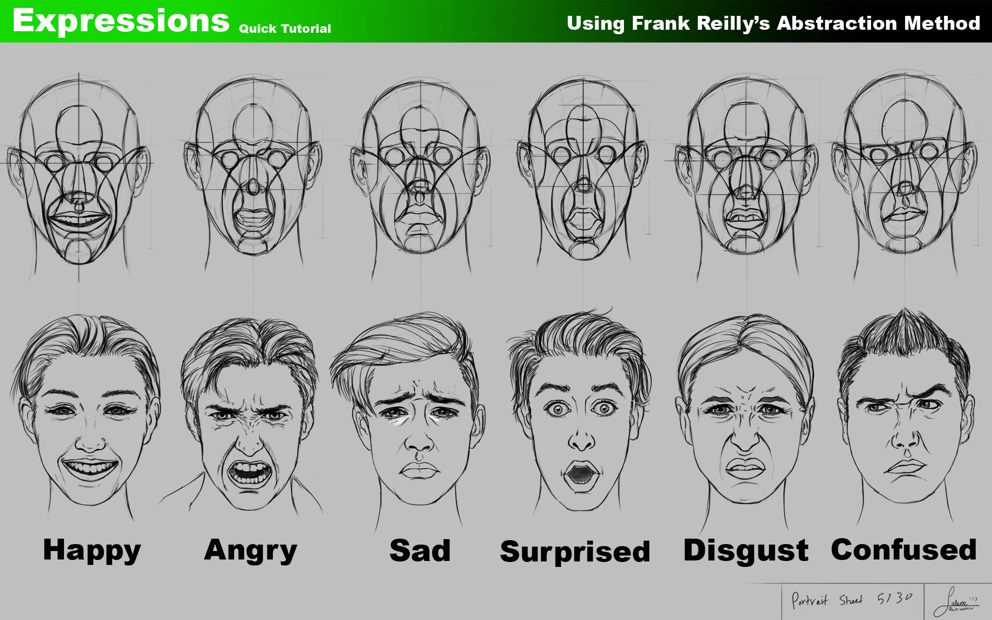 Using Frank Reilly's method to draw Facial Expressions